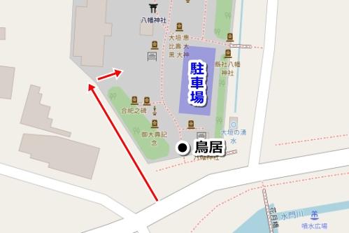 大垣八幡神社(岐阜県大垣市)駐車場マップ