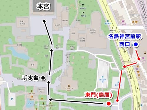 名鉄神宮前駅から熱田神宮への行き方マップ