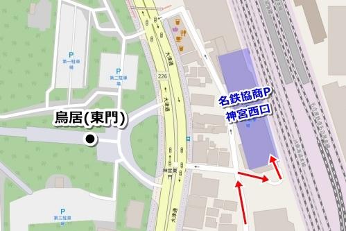 熱田神宮周辺の大きい駐車場(名鉄協商パーキング神宮西口)