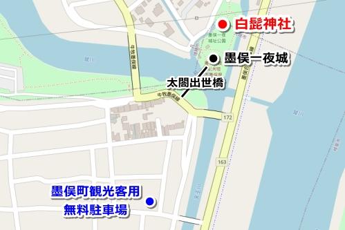 白髭神社(岐阜県大垣市墨俣町)駐車場マップ(墨俣町観光客用無料駐車場)