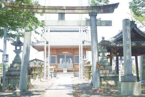 白髭神社(岐阜県大垣市墨俣町)鳥居と社号標(村社白鬚神社)
