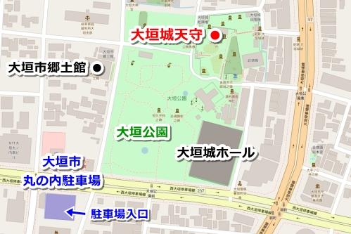 大垣城駐車場マップ(大垣市丸の内駐車場)
