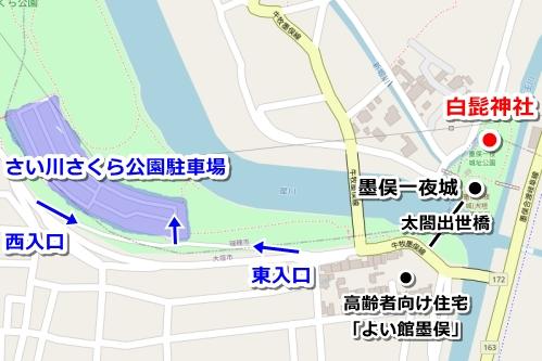 白髭神社(岐阜県大垣市墨俣町)駐車場マップ