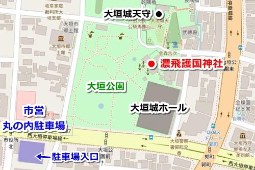 濃飛護国神社(岐阜県大垣市)駐車場マップ