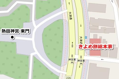 熱田神宮の定番おみやげ(きよめ餅総本家)マップ
