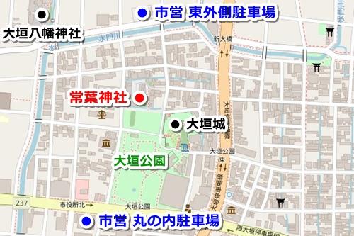 常葉神社(岐阜県大垣市)駐車場マップ