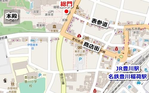 豊川稲荷(愛知県豊川市)最寄り駅からのアクセスマップ