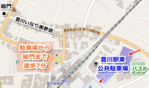 豊川駅東公共駐車場マップ