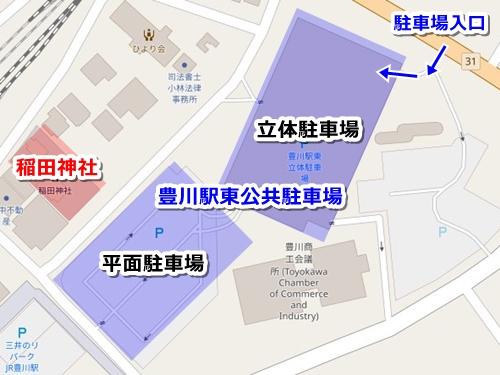 稲田神社(愛知県豊川市)駐車場マップ