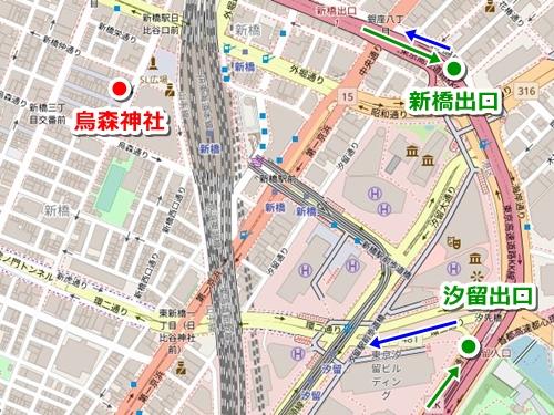 烏森神社(東京新橋)への車でのアクセス