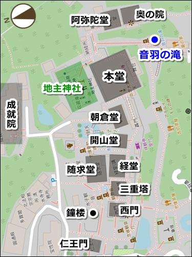 京都清水寺・音羽の滝の場所(地図)