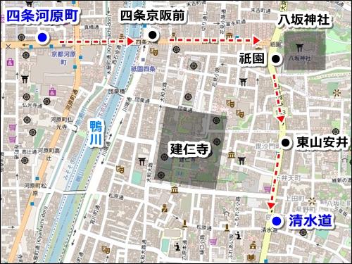 四条河原町(京都河原町駅)から清水寺へのバスでのアクセス02
