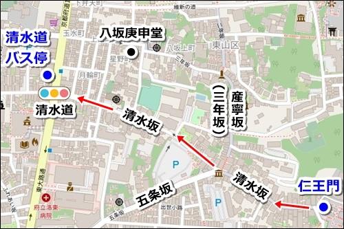 清水寺から八坂神社へのバスでのアクセス01