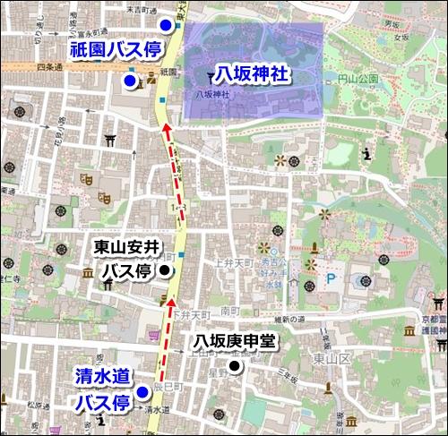 清水寺から八坂神社へのバスでのアクセス02
