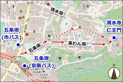 五条駅(地下鉄烏丸線)から清水寺へのバスでのアクセス03