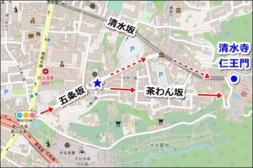 清水五条駅から清水寺への徒歩ルート03