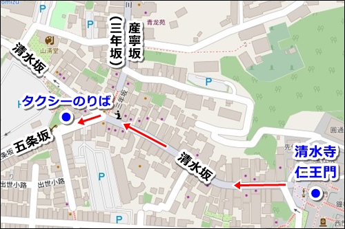 清水寺タクシー乗り場マップ