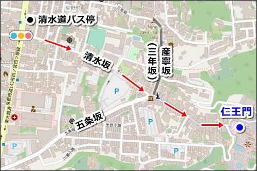 八坂神社から清水寺へのバスでのアクセス04