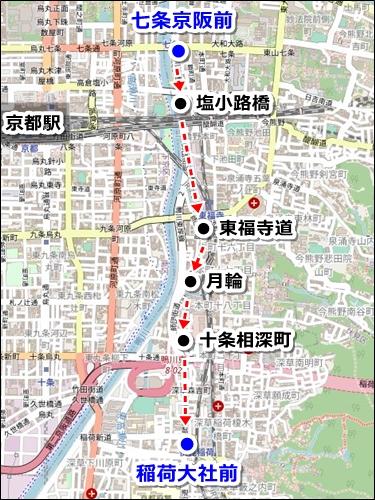 清水寺から伏見稲荷大社へのアクセス(バスのみ)03-2