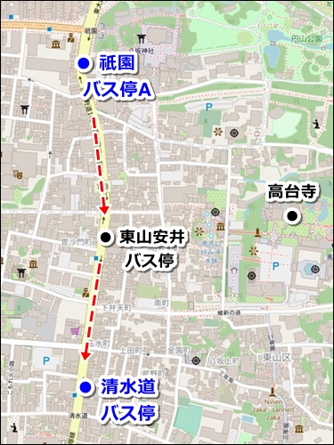 八坂神社から清水寺へのバスでのアクセス02-2