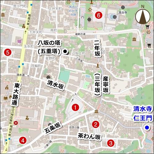 京都・清水寺周辺駐車場マップ(地図)