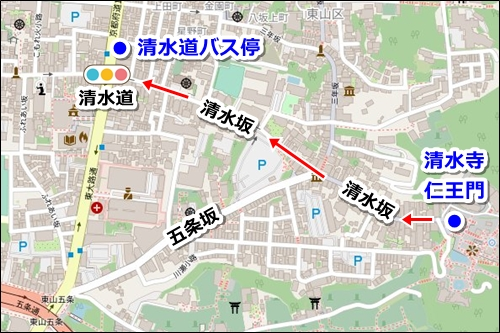 清水寺から伏見稲荷大社へのアクセス(バスと電車)01