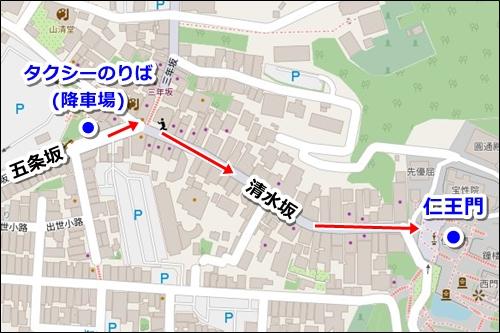 清水寺(京都市東山区)タクシー乗り場(降車場)マップ