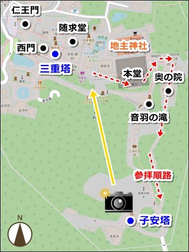 清水寺・三重塔と子安塔マップ