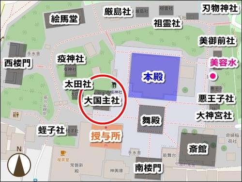 大国主社マップ(縁結びの神様・京都八坂神社)