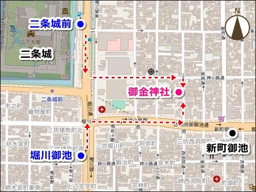 京都御金神社近くのバス停マップ