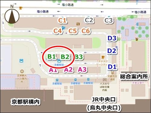 京都駅から御金神社へのアクセス(京都駅前バスのりば地図)
