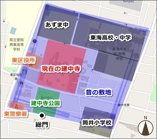 徳興山建中寺(名古屋市東区)の歴史マップ(昔の境内敷地)