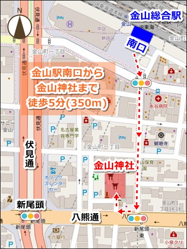 金山神社(名古屋市熱田区)アクセスマップ