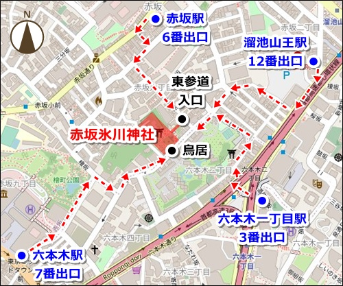 赤坂氷川神社(東京都港区)アクセスマップ