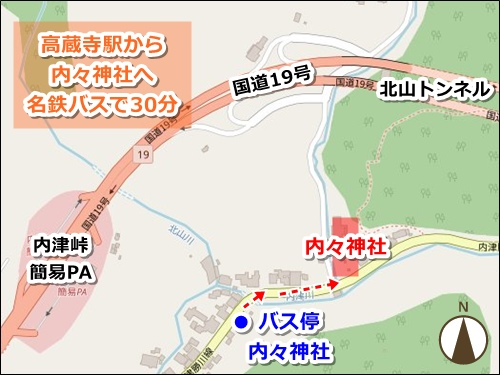 内々神社(愛知県春日井市)アクセスマップ