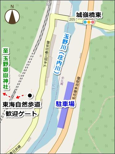 玉野御嶽神社(愛知県春日井市)駐車場マップ(玉野川向かい)
