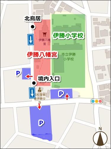伊勝八幡宮(名古屋市昭和区)駐車場マップ